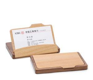 أزياء الرجال النساء للجنسين خشبية اسم الشركة id بطاقة الائتمان حامل حالة الخشب بطاقة تخزين مربع اللوازم المكتبية المنزلية