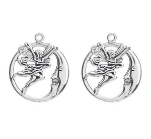 Hot 100pcs Vintage Bronze Silver Zinc Alloy Moon Angel Charms Necklace Pendant For Jewelry Making 31x27mm