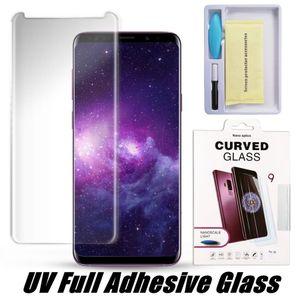 UV adesivo de vidro temperado para Samsung S20 Ultra S10 Nota 10 S9 Além disso Caso amigável protetor de tela para HUAWEI P30 Mate20 Pro
