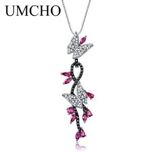 UMCHO 925 Ayar Gümüş Kelebek Doğal Taş Siyah Kadınlar Için Spinel Yakut Romantik Kolye Kolye Güzel Takı Y1892805