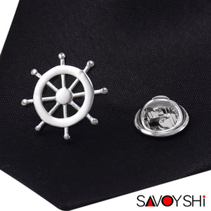 SAVOYSHI Novelty Silver Rudder Shape Men Lapel Pin Brooches Pins Fine Gift for Mens Brooches Collar Party Gift Brand Men Jewelry
