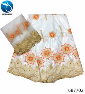 LIULANZHI bazin riche getzner white bazin dress jacquard cotton fabric 7yards/lot latest french laces fabric high quality 6B77