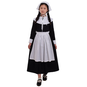 Kids Girls Puritan Costume Pilgrim Carnival Party 1920s Religioso Halloween Costume Abbigliamento classico Prairie Dress Suit