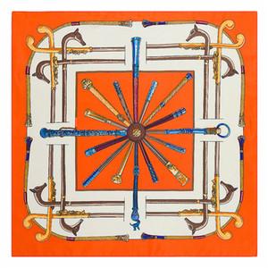 Frauen 100% Seide Orangenplatz Schal Fox Drucken Satin Foulard Femme Echarpe Retro Twill-Schals 60 * 60CM Großhandel