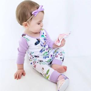 Çiçek Bebek Rompers Sonbahar Saf Pamuk Uzun Kollu O-Boyun Tulum Baskılı Çiçek Toka Giyim Patchwork Elastik sürünen Suit Broken