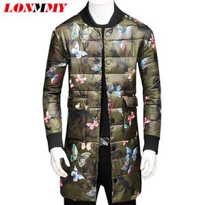 LONMMY 3XL Giacche invernali stile lungo da uomo parka da uomo Moda capispalla farfalla Casual da giacca da uomo streetwear 2018 Inverno