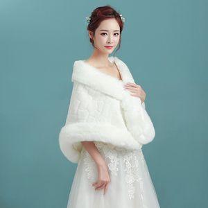 Alta Qualidade Barato Nupcial Wraps 2019 Falso Faux Fur Jaquetas De Casamento De Inverno Xales Cape Marriage Jaquetas De Noiva Wraps E Boleros