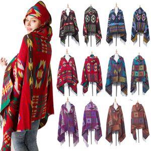 6 cor mulheres boêmio lã mistura coberta coberta capa poncho capa outwear casaco xaile free jle135