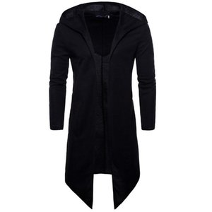 Homens Trench Coat Primavera Outono Nova Moda Longo Casaco Preto Fit Para Homens Casaco