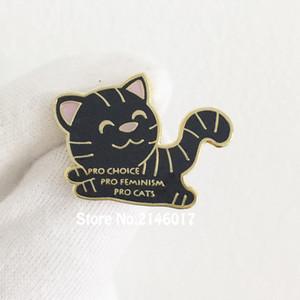 50pcs Pro Choice bavero Pins Smalto femminista Cat Pin Spilla Badge personalizzato 28mm Pro-Cats Pro-femminismo Frizione posteriore Metal Craft