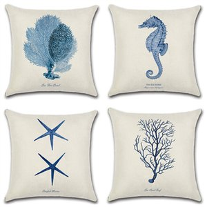 Sea Horse Whale Starfish Printed Cotton Linen Pillow Case Decorative Office Home Throw Pillow Cover Cojines Almofada