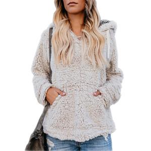 Frauen Sherpa Mit Kapuze Pullover Fleece Pullover Kaschmir Kausale Sweatshirts Outwear Mit Kapuze Pullover Herbst Winter Warm Halten Mantel Streetwear HEIßER