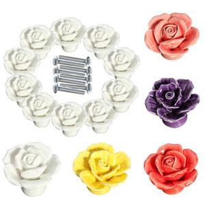 Vintage Gül Kapı Topuzlar Çiçek Seramik Avrupalılar mutfak dolapları 10pcs / lot 5 Renk için Çekmecesini Kulp