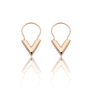 Qualidade superior de Aço Inoxidável carta V brincos de prata de ouro rosa Mulheres brincos de queda Jóias de moda jóias