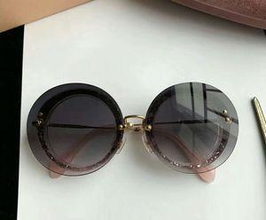 Donne Mu 10r rotondo Glitter Grigio Grigio Occhiali da sole trasparenti Sonnenbrille Designer Sunglasses Summer Holiday Eyewear Nuovo con scatola