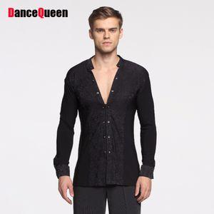 Pas cher Latin Danse Chemises Pour Les Hommes Blanc Noir À Manches Longues Bas Tops Hommes Adulte Tango Ballroom À La Mode Professer Manteau 10455