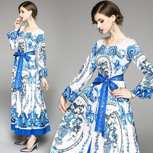Women Maxi Dress with Vintage Palace Print Blue White Color Waist Tie Long Sleeve Dress Fit for Autumn Winnter