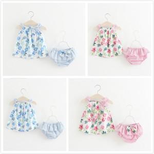 2018 Summer Children's Clothing impresión de la flor Big Bow Sling Chaleco + Shorts de rayas Establece Color sólido Floral Bow Niñas Ropa