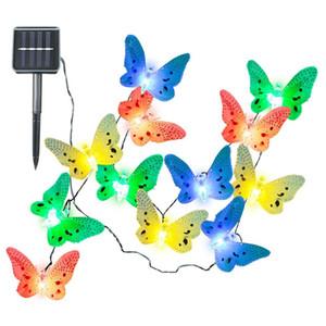 12 LEDs Borboleta Luzes Da Corda Solar Multi Cores de Energia Solar Lâmpada Led Ao Ar Livre Iluminação Decorativa Decoração de Jardim Dropship Por Atacado