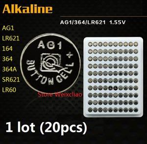 20 قطع 1 وحدة AG1 LR621 164 364 364A SR621 LR60 1.55 فولت بطاريات زر خلية البطارية القلوية عملة صينية حزمة شحن مجاني