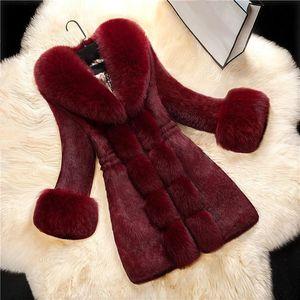 2018 nouvelle arrivée femmes manches longues pardessus solide élégant col rabattu manteau chaud manteau d'hiver fausse fourrure épaisse longue Outwear