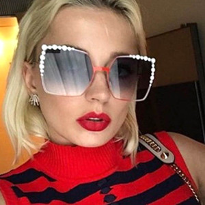 2018 Oversized Square Sunglasses Women Diamond New Fashion Brand Designer Pink Female Sun Glasses Superstar Transparent Oculos
