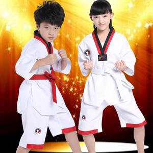 Taekwondo authentique convient aux enfants en pur coton à manches longues et à manches courtes en tenue de compétition