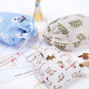 Vintage floral lazo monedero bolsa de tela de algodón mujeres viajan maquillaje bolsa de almacenamiento niños lindos Organizador Carteras de dibujos animados dibujar cordón bolsa