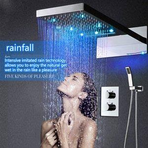 럭셔리 3 웨이 Thermostaic 믹서 설정 주도 샤워 비 키트 마사지 폭포 벽 마운트 욕실 피팅
