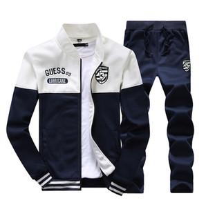 Homens Roupas Masculinas Track 2018 New Brand Tracksuits Jaquetas de Sportswear Patchwork Masculino + Calças Outwear Suits Mens Hoodies
