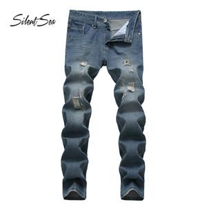 Silentsea Homme Jeans Hétéro Décontracté Rayé Slim Fit Homme Jeans Homme Stretch Denim Pants Pantalon Pantalon Cowboy Classique