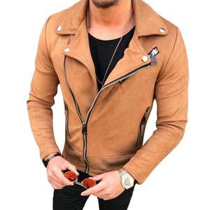 Hombres Abrigo Streetwear 2018 Bomber Suede Leather Jacket Abrigo Solapa Cremallera Slim Biker Motocycle Chaqueta Hombre Outwear Casacos