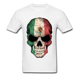 Meksika Bayrağı PP Kafatası T-Shirt Saf Pamuk Parti T Gömlek Tops Yeni Kısa Kollu Erkek T-Shirt Basit Stil Yaz Güz Tee-Gömlek