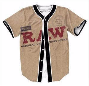 2018 Hot Baseball Jersey T Shirt Classique RAW Original 3D Imprimer Manches Courtes Hommes T-Shirt Bouton Chemise Slim Fit Hip Hop