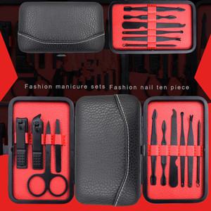 10 pcs En Acier Inoxydable Nail Manucure Outils Ensemble Nail Art Portable Kits Nails Clipper Ciseaux À Sourcils Tweezer Couteau Ear pick Voyage Kit