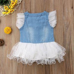 Nuevo pétalo Baby Lace Sleeve Denim Girls Dress Patchwork Chiffon Tutu Sundress Toddler Lace Dress Princess Newborn Brand 2018 Mini