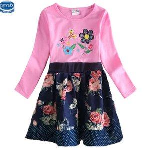 H6241 yeni tasarım İlkbahar sonbahar uzun kollu nakış çiçek noktalar ile kız nedensel elbise nova çocuklar küçük kızlar elbiseler