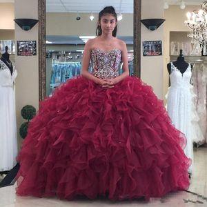 Straplez Sevgiliye Organze Saten Boncuklu Korse Bordo Balo Abiye Fuşya Quinceanera Elbise robe de soiree