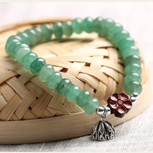 Dongling, Bracelet Jade naturel pour les femmes Vert Jade Dongling lobulaire Rosewood paix mains Bouquet de fermoir Lap Perles Adorn article