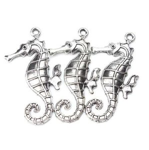 5pcs lot 59mm x 30mm Large Seahorse Charms Antique Silver Tone horse for women men handmade craft necklace & pendant jewelry