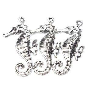 5 шт. / лот 59 мм x 30 мм Большой Морской конек прелести античный серебряный тон лошадь для женщин мужчины ручной работы ремесло ожерелье кулон ювелирные изделия