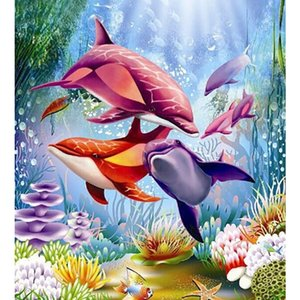 fashionable diamond painting dolphin square Diamond Embroidery Full Paste Square Cross Stitch Home Decoration Paintings