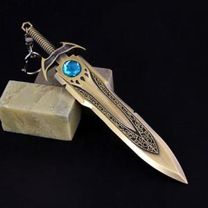 16CM 수집품 LOL 야만족의 왕 Tryndamere 아연 합금 무기 King 's Sword Keychain Keyring 청동 검 펜던트