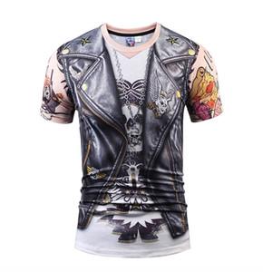 Hommes s T-shirt 809 m-xxxl 2018 été nouveau créatif numérique faux deux pièces en cuir PU impression 3D T-shirt à manches courtes vêtements pour hommes crâne