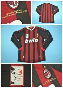 camisa esporte milan 09-10 casa maldini aposentado versão longa manga 80 # RONALDINHO 32 # BECKHAM 5 # MALDINI