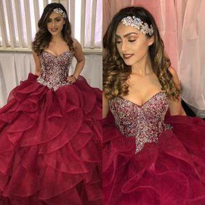 Vintage Burgundy Ball Gown Quinceanera Dresses Sweetheart Organza ruffles Cascade prom dress 2018 Top Beaded Corset Cheap Vestidos 15 anos