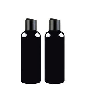100ml 150ml 200ml 250ml 300ml recipientes vazios do champô com o tampão preto da parte superior do disco, tampa preta da imprensa de garrafa do animal de estimação, empacotamento cosmético, garrafa do champô