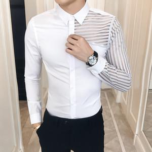 Slim Fit camisa dos homens Sexy oco Lace Patchwork manga comprida Prom camisas de vestido smoking 3XL-M Moda Vestuário Outono Nova