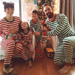 Children Christmas Pajama Sets Baby Kid Boys Girls Striped Nightwear Pajamas Set Sleepwear Baby Clothing Sets