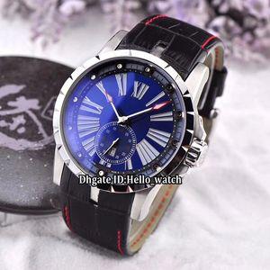 Nova marca Excalibur Calibre 42 Data RDDBEX0602 Azul Dial Mens Automatic Watch Silver Case Pulseira De Couro de Alta Qualidade 7 Cor Gents Relógios